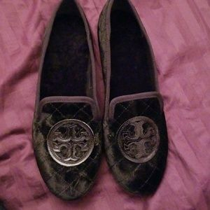 Tory Burch Billy velvet slipper black size 7